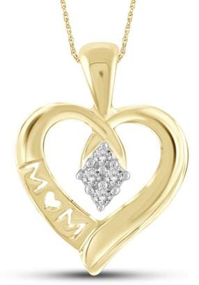 Jewelersclub 1/10 Carat T.W. White Diamond Gold over Silver Mother Heart Pendant