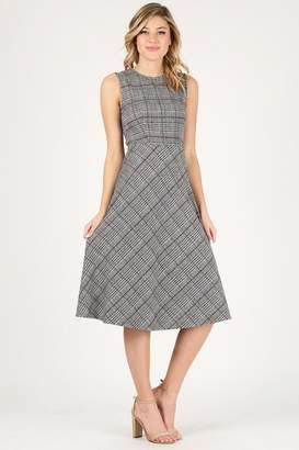 Soprano Plaid Midi Dress