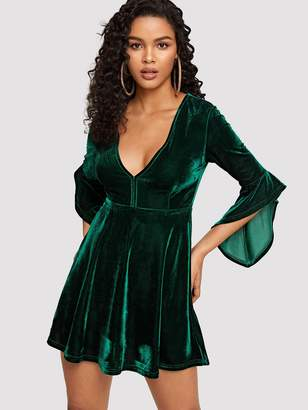 f57f9d501f77 Shein Plunging Neck Asymmetrical Ruffle Cuff Velvet Dress