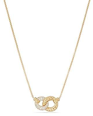 David Yurman Belmont Extra Small Double Curb Link Necklace with Diamonds in 18K Gold