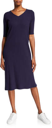 Eileen Fisher V-Neck Elbow-Sleeve Ribbed Midi Dress