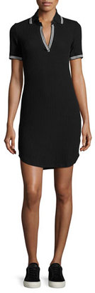 Splendid Contrast-Stripe Ribbed Polo Shirtdress, Black $148 thestylecure.com