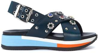 Tipe E Tacchi Blue Leather Sandal With Jewel Flowers