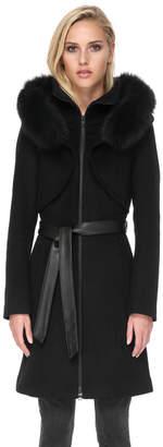 Soia & Kyo ARYA-FX slim-fit wool coat with dramatic hood