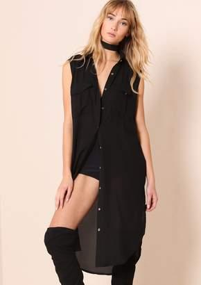 5eaa1800 Missy Empire Missyempire Sydney Black Sheer Split Detail Longline Shirt