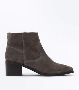 New Look Grey Premium Suede Block Heel Ankle Boots