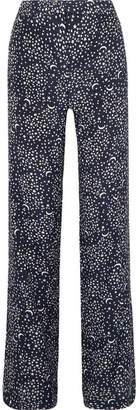Stella McCartney Printed Silk Crepe De Chine Wide-leg Pants - Navy