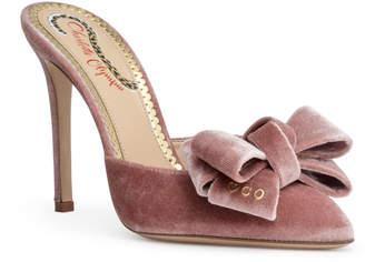 Charlotte Olympia Dusty pink 100 velvet mules