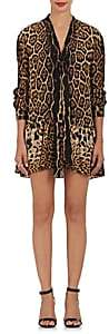 Saint Laurent Women's Wildcat-Print Silk Scarf Neck Minidress - Tan