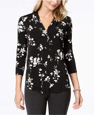 Charter Club Printed V-Neck Top