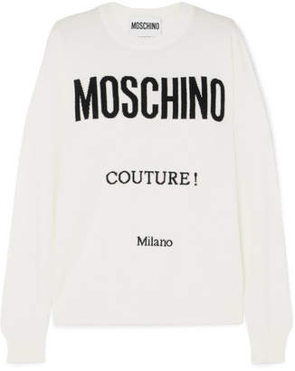 Moschino Intarsia Wool Sweater - White