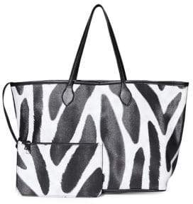 Steve Madden Patterned East-West Tote with Zip Pouch