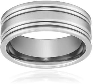 Men's Titanium Comfort-Fit Wedding Band Featuring Two Concave Cuts and a Soft Satin Finish (8 mm)