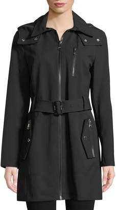 Iconic American Designer Zip-Front Hooded Gabardine Jacket