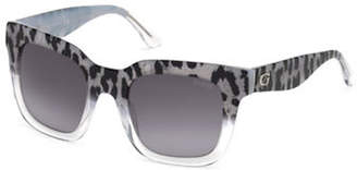 GUESS 50mm Leopard Print Square Sunglasses