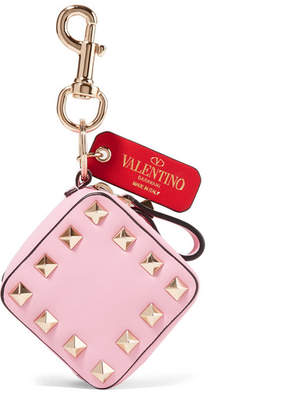 Valentino Garavani The Rockstud Textured-leather Bag Charm - Baby pink