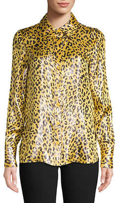Diane von Furstenberg Animal-Print Long-Sleeve Top