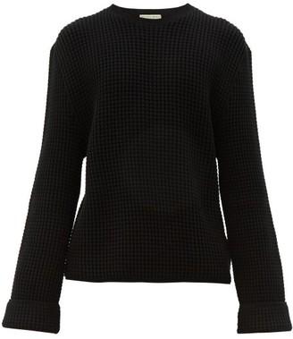 Bottega Veneta Waffle Knit Cotton Blend Sweater - Mens - Black
