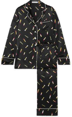7aeb08a58430 Olivia von Halle - Lila Printed Silk-satin Pajama Set - Black