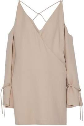 IRO Cold-Shoulder Wrap-Effect Crepe Mini Dress