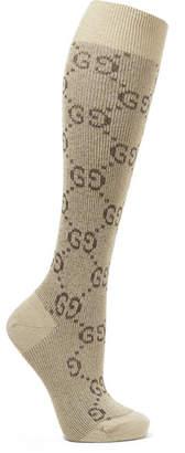 Gucci Metallic Cotton-blend Jacquard Socks - Beige