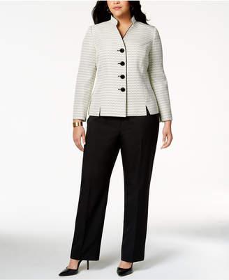 Le Suit Plus Size Tweed-Blazer Pantsuit