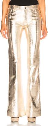 Chloé Metallic Texturized Leather Flared Pants