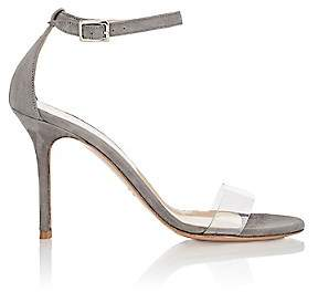Barneys New York Women's Suede & PVC Ankle-Strap Sandals - Gray
