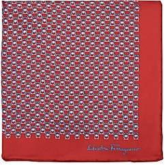 Salvatore Ferragamo Men's Gancio-Print Silk Twill Pocket Square-Red