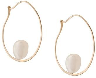 Niza Huang 9kt yellow gold Floating Baroque pearl hoop