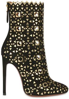 Alaia 115mm Suede Boots With Mirror Details