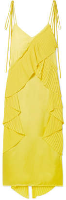 Kenzo Pleated Ruffled Crepe And Satin Midi Dress - Yellow