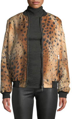 Lafayette 148 New York Melrose Zip-Front Leopard-Print Tech Cloth Bomber Jacket