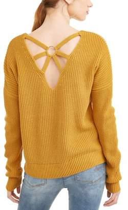 No Boundaries Juniors' Caged Back Rib Knit V-Neck Sweater w/ Hardware