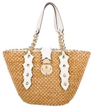 bc30bdb2b1 Pre-Owned at TheRealReal · MICHAEL Michael Kors Leather-Trimmed Straw Tote