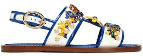 Dolce & Gabbana Embellished Printed Patent-Leather Slingback Sandals