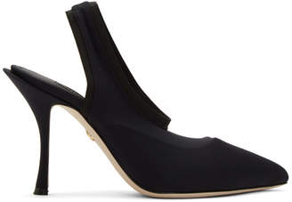 Dolce & Gabbana Black Stretch Jersey Slingback Heels