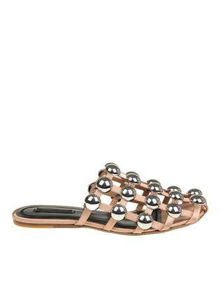 Alexander Wang Sabot Amelia In Fabric With Studs Applied Nude Color