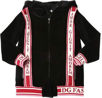 Dolce & Gabbana Velvet Sweatshirt Hoodie