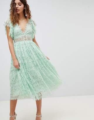 Asos Design Lace Prom Midi Dress With Frill Sleeve