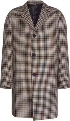 Lanvin Checked Wool Overcoat Size: 50