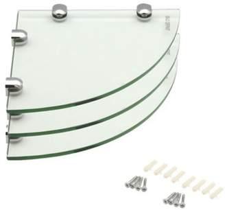 Harbour Housewares Glass Corner Bathroom / Bedroom Shelf - 200X200Mm - Pack Of 3