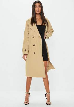 Missguided Camel Oversized Classic Trench Coat