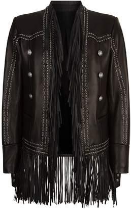 Balmain Leather Whipstitch Fringe Jacket
