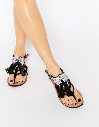 Bronx Tassel Leather Flat Sandals $62 thestylecure.com