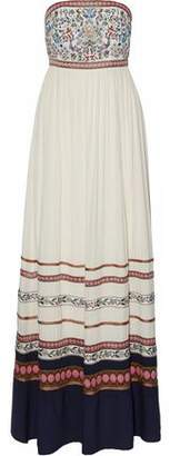 Alice + Olivia Embroidered Woven Maxi Dress