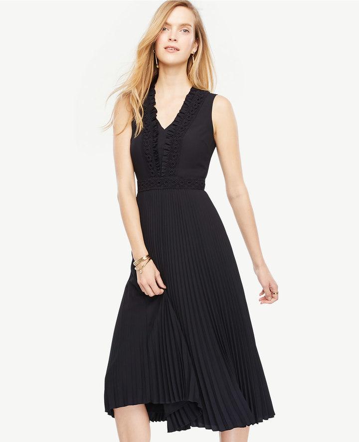 Ann TaylorPetite Embellished Pleated Midi Dress