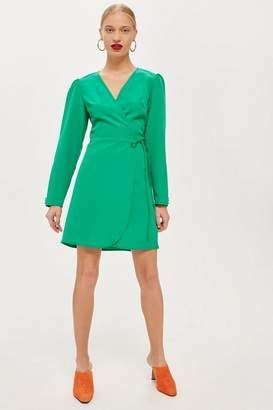 Topshop Petite Crepe Wrap Mini Dress