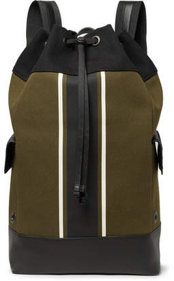 Bottega Veneta Intrecciato Leather-Trimmed Striped Canvas Backpack