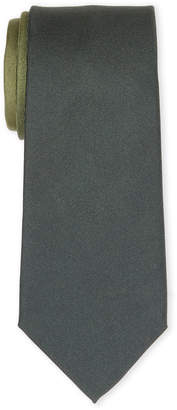 Burberry Olive Solid Tone Silk Tie